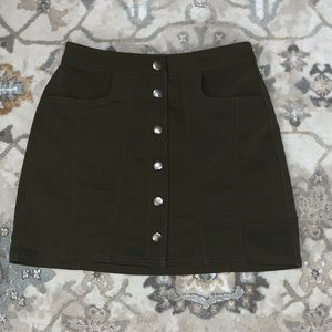 Olive Green Button Up Skirt